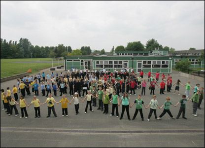 Children making a stand against bullying at Perry Court Juniors, in Bristol