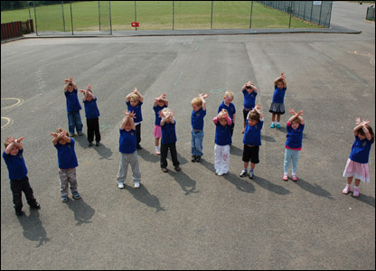 Nursery pupils at Cronk y Berry school in the Isle of Man