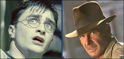 Daniel Radcliffe as Harry Potter and Harrison Ford as Indiana Jones