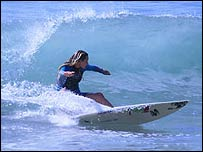 Surfer Tassy, 14,  in action