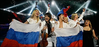 Russia celebrates winning the Eurovision Song Contest