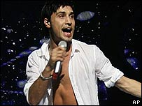 Russia's Dima Bilan performs after winning Eurovision Song Contest