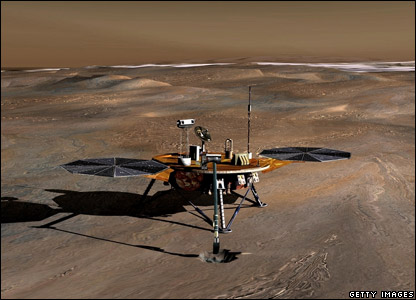 An artist's impression of the Phoenix probe on Mars