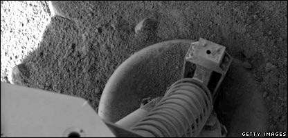One of the Phoenix Mars Lander's legs on the surface of Mars