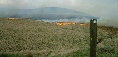 The flames of the moorland fire are being spread by high winds (Picture: Paul Stevens)