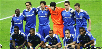 The Chelsea team before the UEFA Champions League Final match