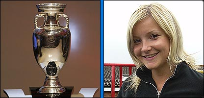 The European Championship trophy and Helen Skelton
