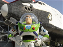 Buzz Lightyear action figure poses at the Kennedy Space Center in Florida