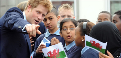 Prince Harry meeting pupils in Cardiff