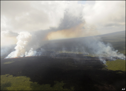 But it did provide a blazing spectacle for those able to watch from the air - check out our video of the volcano erupting!