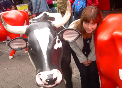 Helen with a cow