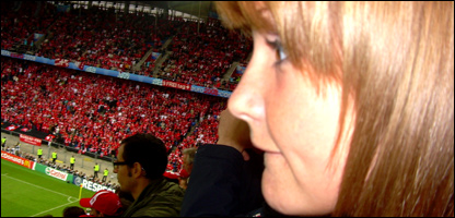 Helen watching the match