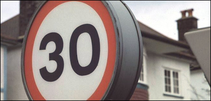 A 30mph speed limit sign