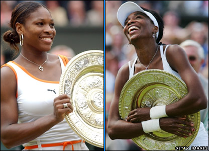 Serena Williams in 2003 and Venus Williams in 2007
