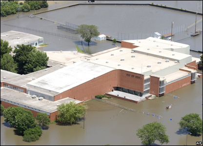 North High School surrounded by flood waters