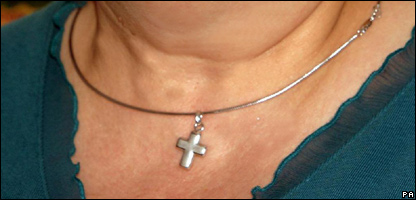 Woman wearing a Christian cross