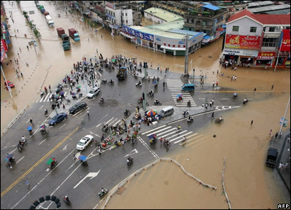 A flooded road in the Fujian province