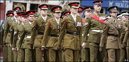 Prince Harry takes part in a memorial parade in Edinburgh