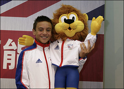The mascot with Tom Daley