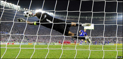 Turkish goalkeeper Rustu Recber saves the last penalty shot by Croatia's Mladen Petric