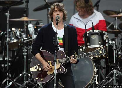 Johnny Borell took to the stage with his band Razorlight.