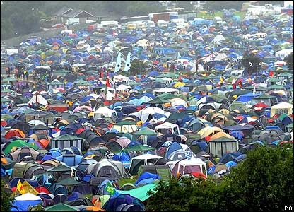 Festival-goers hope their tents will keep them safe and dry this year.
