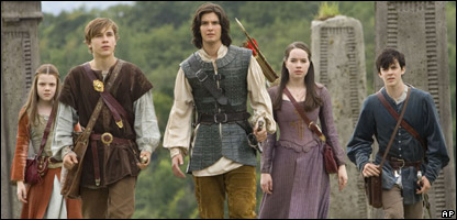 L-R: Georgie Henley, William Moseley, Ben Barnes, Anna Popplewell and Skandar Keynes in a scene from The Chronicles of Narnia: Prince Caspian