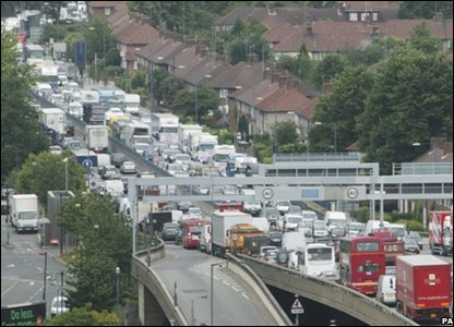 Trucks block the A40 in London in protest at the price of fuel