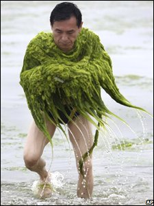 A man with some of the algae wrapped around his shoulders