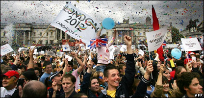 People celebrating London getting the 2012 Olympics