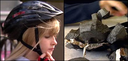 Savannah wearing her new helmet, and the helmet that probably saved her life.