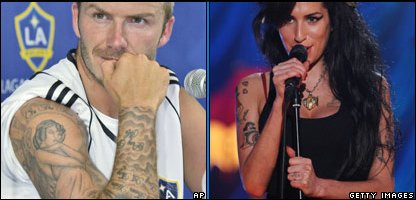 David Beckham and Amy Winehouse