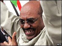 蘇丹總統巴希爾在喀土穆出席集會(13/7/2008)