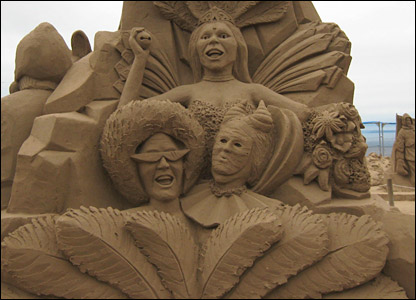 One of the sand sculptures