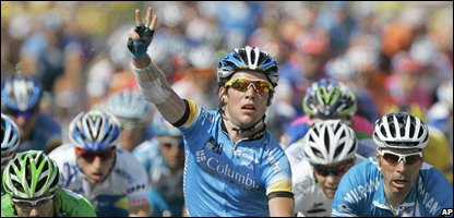 Mark Cavendish celebrates as he takes his 3rd stage win on stage twelve of the 2008 Tour de France