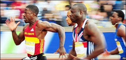 Dwain Chambers - at the front - in action