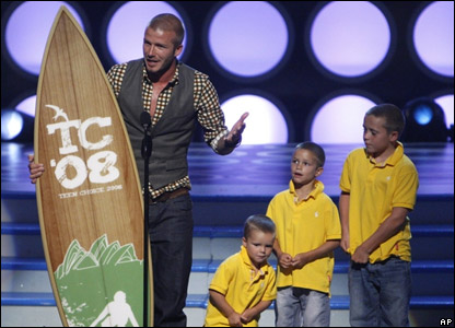 David Beckham took home this surfboard trophy for best male athlete.
