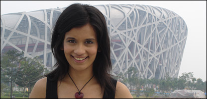 Sonali in front of Beijing's National Stadium, which is known as the Birds' Nest