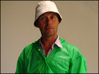 Radio 5 Live's Nicky Campbell in his wet weather gear