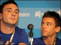 Blake Aldridge and Tom Daley before the competition