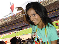 Sonali inside Beijing's National Stadium