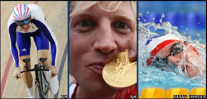 Bradley Wiggins, Andrew Hodge and Rebecca Adlington