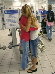 Tropical Storm Fay is expected to near hurricane strength, when it reaches the Florida Keys. These friends are saying goodbye as the last flight leaves Florida.