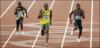 Usain Bolt, centre, men's 200m final
