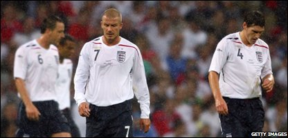 David Beckham and Gareth Barry look upset after Milan Baros of Czech Republic scored