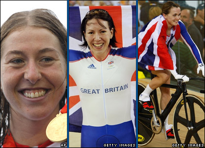 Nicole Cooke, Rebecca Romero and Victoria Pendleton.