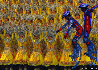Dancers performing during the closing ceremony of the Beijing Games