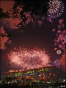 Fireworks over China's national stadium during the closing ceremony of the Beijing Games