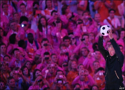 David Beckham during the closing ceremony of the Beijing Games