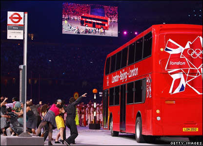 London's red double decker bus inside the Bird's Nest stadium